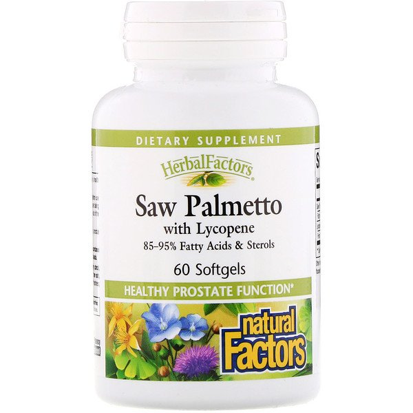 Natural Factors, HerbalFactors, Saw Palmetto with Lycopene, 60 Softgels