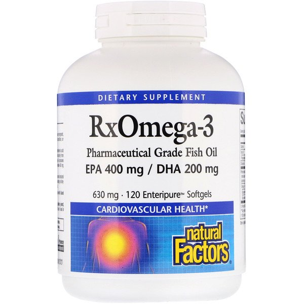 Natural Factors, Rx Omega-3 Factors, 630 mg, 120 Softgels
