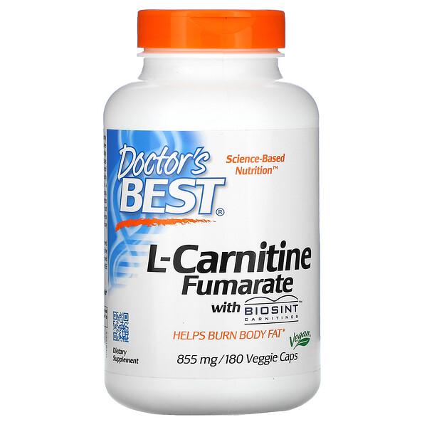 Doctor's Best, L-карнитин фумарат с карнитинами Biosint, 855 мг, 180 растительных капсул